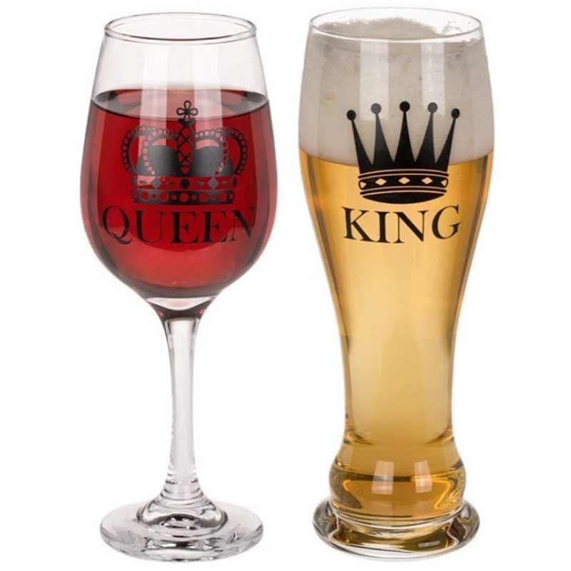 szklanki dla pary queen king